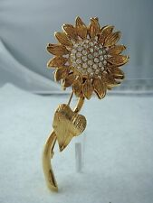 VINTAGE 1980's GOLD TONE PAVE RHINESTONE SUN FLOWER PIN BROOCH