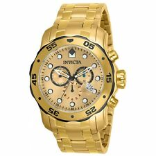 Invicta 80070 Men's Pro Diver Gold Steel Bracelet Chrono Watch