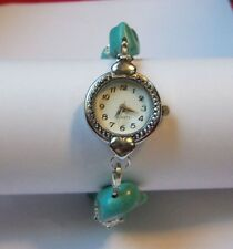 Faux Turquoise Circle Face Stretch Bracelet Watch 7 Inches Length