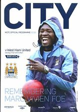 MAN CITY v WEST HAM UTD 2012/13 MINT PROGRAMME MANCHESTER