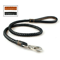 Soft Braided Rollded Genuine Leather Pet Dog Working Leash Leads Brown Black
