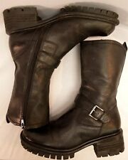NINE WEST Chunky Boots Black Ankle Half Boot Leather Steam Punk Grunge Combat 8