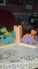 @reduced@ HANDMADE WOODEN Dinosaur BOOKENDS for kids room / nursery