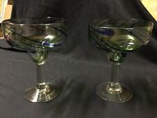 Margarita Glasses, Swirl Mexican Glass, Hand Blown, Set of 2, Free Shipping