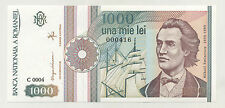 Romania 1000 Lei Sept 1991 Pick 101A UNC Uncirculated Banknote Serial 0004--