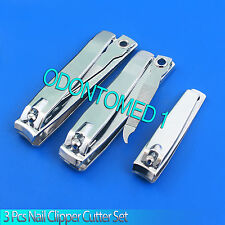 New 3pc Nail Clipper Cutter Set - Straight + Curved + Mini Cutting Edges w/ File