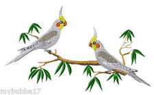 COCKATIELS SET OF 2 BATH HAND TOWELS EMBROIDERED BY LAURA