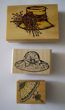Wooden Rubber Stamps x3 Hats Parasol Scrapbooking Card Making Craft