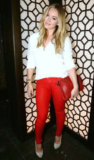 New $217 J BRAND WAXED COATED BRIGHT RED MIDRISE SUPER SKINNY LEGGING JEANS 28