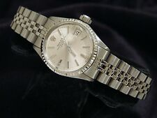 Vintage Rolex Date Lady Stainless Steel & 18K White Gold Watch Silver Dial 6517