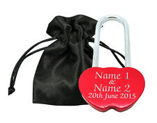 Valentines Gift Love Lock Personalised Engraved Padlock Present Anniversary Red