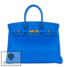 BLEU HYDRA ELECTRIC BLUE BIRKIN 35CM HERMES CLEMENCE LEATHER BAG GOLD GHW BAG