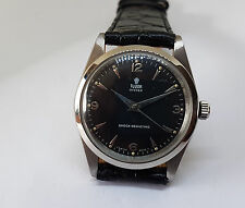RARE VINTAGE 60'S ROLEX TUDOR OYSTER BLACK DIAL SS CASE MANUAL WIND MAN'S WATCH