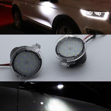 2 White LED Side Mirror Puddle Light For ford Edge Mondeo Explorer Taubus 2015up