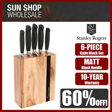 100% Genuine! Stanley Rogers Black Flash 6 Piece Knife Block Set! RRP $199.00!