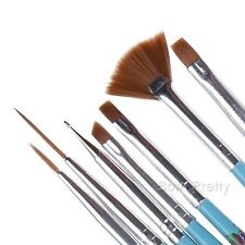 7Pcs Nail Art UV Gel Painting Liner Brushes Gradient Dotting Pen Blue Brush DIY