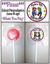 24 Super Mario Brothers Birthday Party Lollipop Sticker Invitation Seal Play Doh
