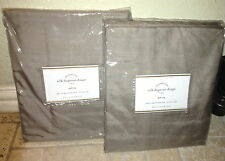 NIP (2) POTTERY BARN SILK DUPIONI POLE POCKET DRAPES~BROWNSTONE~50x84~HTF SIZE!!