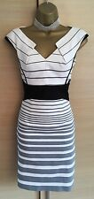 Exquisite Karen Millen Grey White 'Eva' Wiggle Dress UK 10