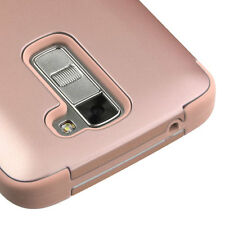 LG K7 / Treasure Tracfone - ROSE GOLD HIGH IMPACT HYBRID PHONE CASE COVER ARMOR