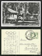 1936 Olympic Games rppc Village 3 Houses Homes Berlin stamp Birch Forest