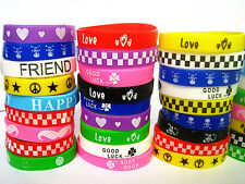 wholesale lots 50 x mixed designs rubber wristbands bracelets free post