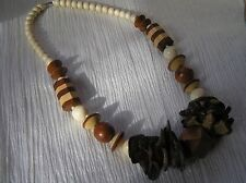 Estate Chunky Cream Tan & Brown Striped Plain Wood Bead & Coconut Shards Neck