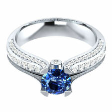1.30 TCW RD Blue Sapphire Diamond 14k White Gold Over Engagement Ring Sizable