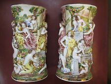 RARE PAIR OF CAPO-DI-MONTE HAND PAINTED  VASES 1940s BEAUTIFUL