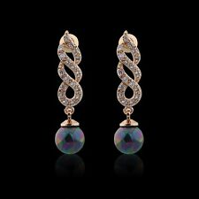 18ct gold filled White Topaz and Black pearl ladies Drop dangle earrings Plait