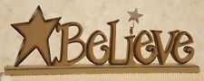 Country Primitive Wooden Believe Cutout Sign Stand