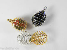 TWO Round PENDANT CAGE GOLD & SILVER Finish CRYSTAL Tumbled Stone BEAD FS