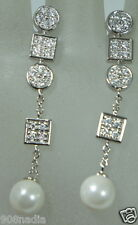 STERLING SILVER 925 FAUX PEARL CZ OR CRYSTALS DANGLING POST EARRINGS