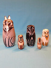 Wooden Russian Nesting Dolls Cat -  Figurines 10 PIECE SET HAND PAINTED NICE