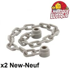 Lego - 2x Chaine Chain 21 Links gris clair/light bluish gray 30104 NEUF