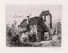 "Attractive Original ERNEST GEORGE 1800s Etching ""Old Cochem House"" SIGNED COA"