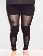 Black Cotton Leggings with Mesh Panels