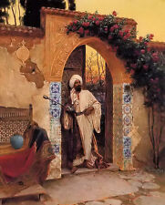 Oil painting rudolf ernst - by the entrance arab people in the garden canvas art