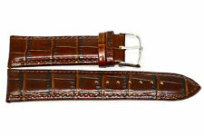 24MM BROWN DARK ALLIGATOR GRAIN LEATHER WATCH BAND STRAP FITS BULOVA