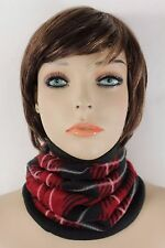 Women Scarf Turtle Neck Warmer Head Cover Outdoor Face Mask Sport Red Geometric