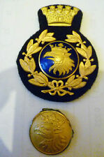 ORIGINAL VINTAGE SWEDISH FIRE & RESCUE DEPARTMENT EAGLE CAP BADGES