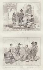 Costumi romani, Eminenti e Improvvisatori di osteria, 1834-1837 bulino