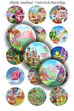 Pre-Cut Bottle Cap Images Candyland Collage Sheet R229 - 1 Inch Circles