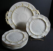 Irish Belleek 0223-3G New Shell Cake Set for 6 Handmade Sea Shells Coral 7 pcs