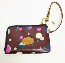 NEW FOSSIL KEYPER TOTAL ECLIPSE,COATED CANVAS,MULTI COLOR WALLET,POUCH,WRISTLET