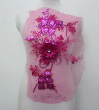 1Pcs Embroidery Tulle Sequin Crystal 3D Flower Applique/Patch~Sew On Rose Red