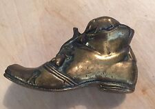 Vintage Small Brass Shoe Boot -  Paper Weight  - Ornament