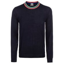 NWT Paul Smith Men's Navy Merino Wool And Silk-Blend Contrast-Collar Sweater, XL