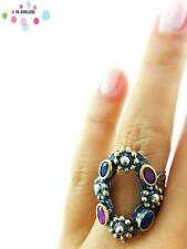 Turkish Ottoman 925 Sterling Silver Jewelry Authentic Ruby Ring Adjustable R1982