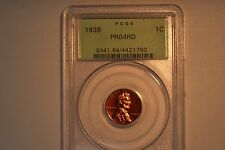 1938 Lincoln Cent- PCGS PR-64 RED.  Old Green Holder.  Nice.